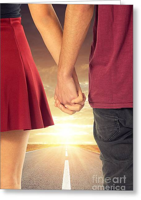 Walk With Me Greeting Card by Carlos Caetano