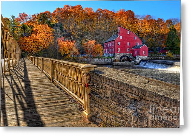 Walk With Me - Clinton Red Mill House In The Fall Greeting Card by Lee Dos Santos
