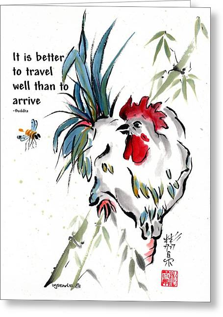 Greeting Card featuring the painting Walkabout With Buddha Quote I by Bill Searle