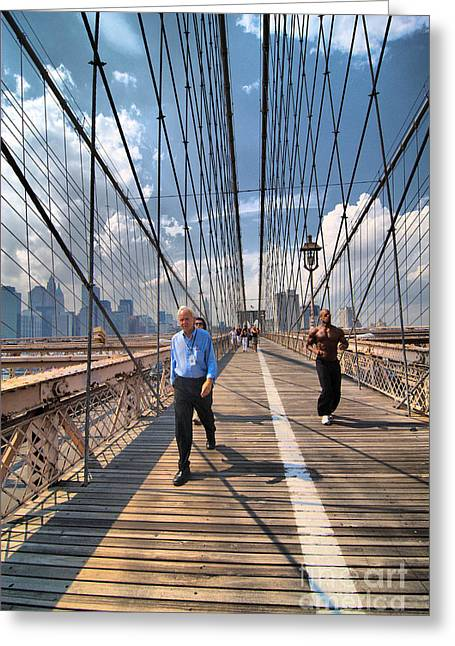 Walkers And Joggers On The Brooklyn Bridge Greeting Card