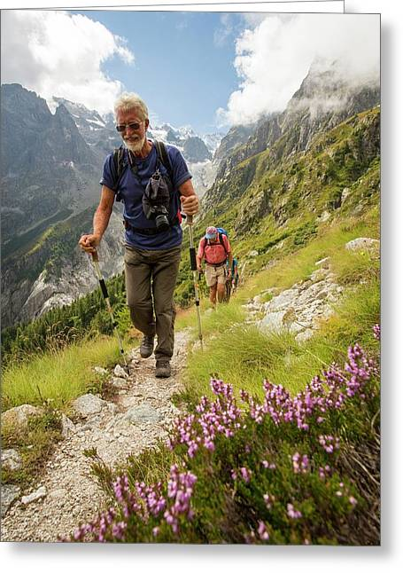 Walkers Doing The Tour Du Mont Blanc Greeting Card