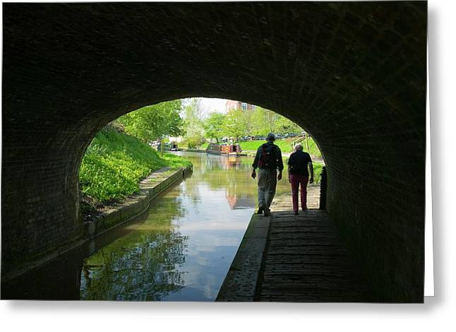 Walkers On The Shropshire Union Canal Greeting Card by Ashley Cooper