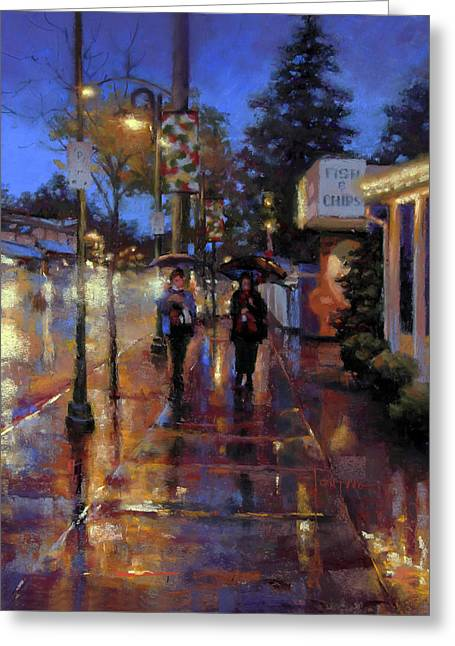 Walkin' In The Rain Greeting Card by Dianna Ponting