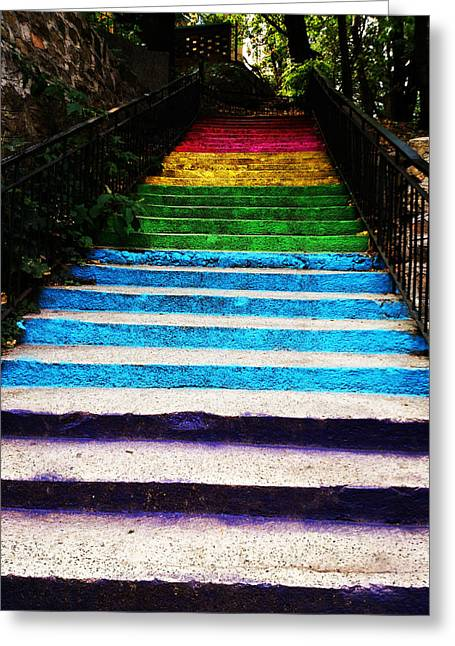 Walkin' On Rainbow Greeting Card by Lucy D