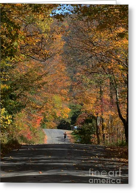 Walking A Country Road Greeting Card