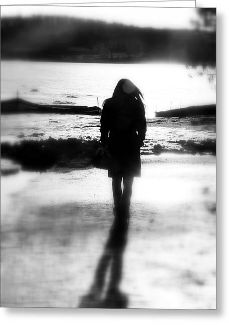 Walking Alone Greeting Card by Valentino Visentini