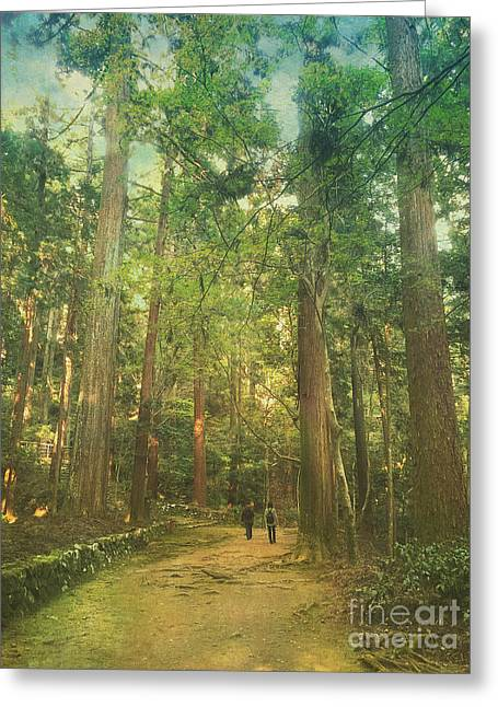 Walking Along The Kozan-ji Forest In Kyoto Japan Greeting Card by Beverly Claire Kaiya