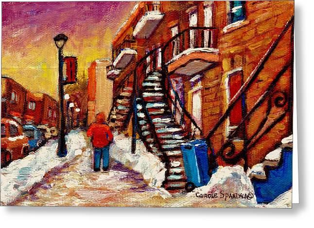 Walking Along Wellington Street Verdun Winter Painting Montreal City Scene By Carole Spandau Greeting Card