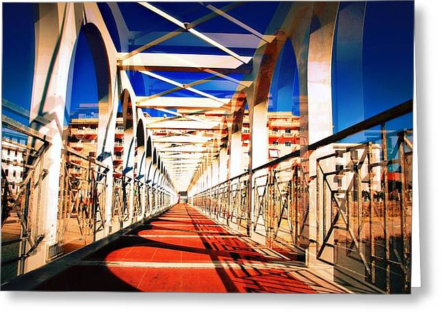Walking Bridge Civitavecchia Italia Greeting Card