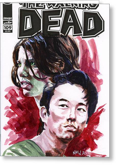 Walking Dead Glenn And Maggie Greeting Card by Ken Meyer jr