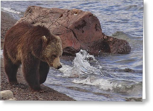 Walking Grizzly Bear On Lakeshore Greeting Card by Dan Sproul