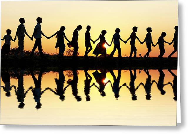 Walking Home Greeting Card by Tim Gainey