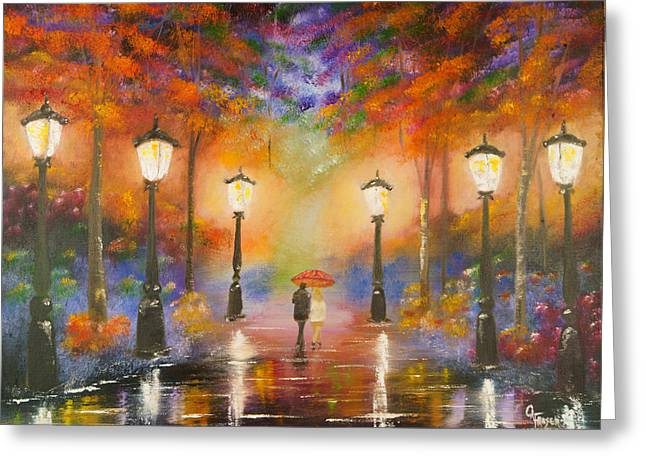 Greeting Card featuring the painting Walking In The Rain by Chris Fraser