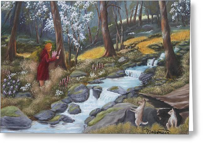 Walking In The Woods One Day Greeting Card by Lou Magoncia