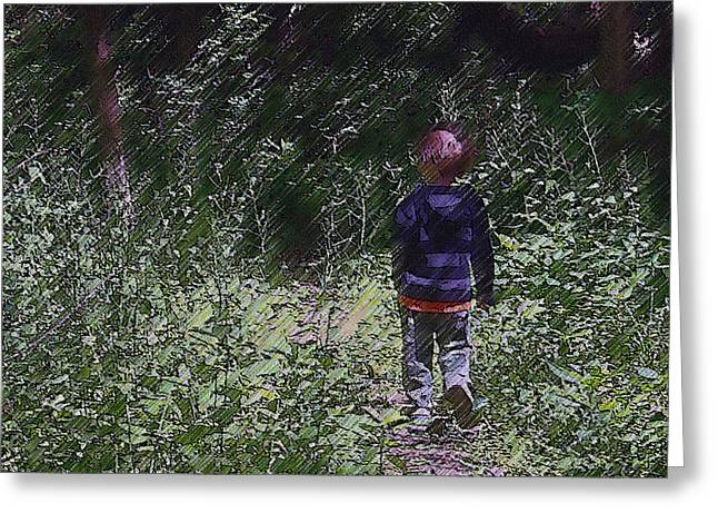 Boy Walking Into The Woods Greeting Card by Ellen Tully