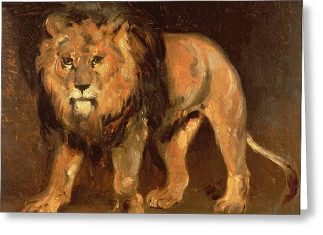 Walking Lion Greeting Card
