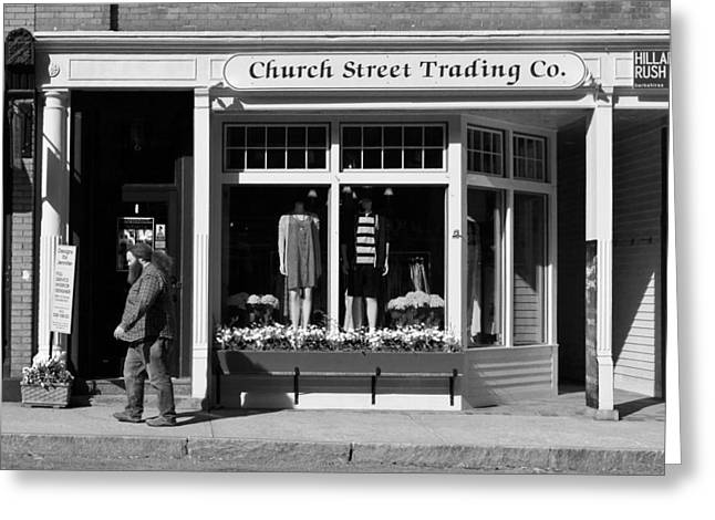 Walking Man - Great Barrington - Black And White Greeting Card by Geoffrey Coelho