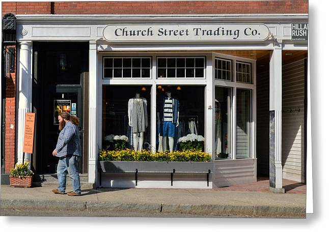 Walking Man - Great Barrington Greeting Card by Geoffrey Coelho