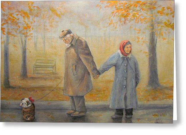 Greeting Card featuring the painting Walking Miss Daisy by Donna Tucker
