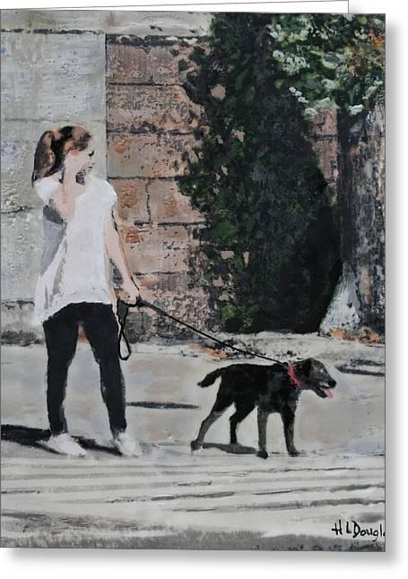 Walking My Mistress Greeting Card by Heather Douglas