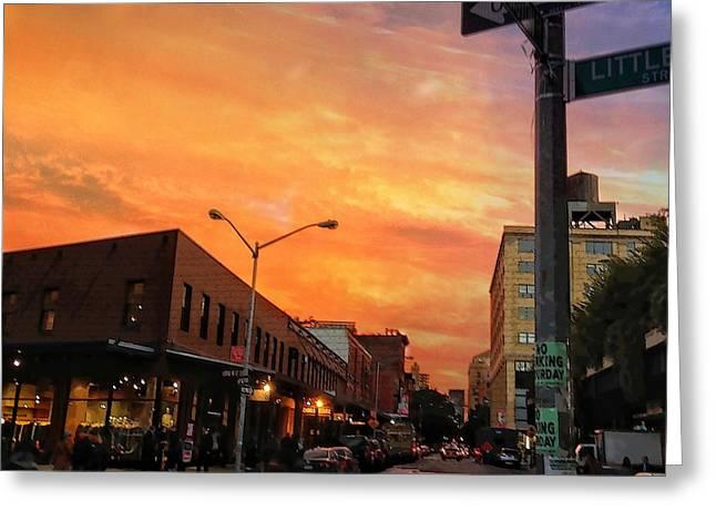 Walking Nyc At Sunset  Greeting Card by Michael Beresin