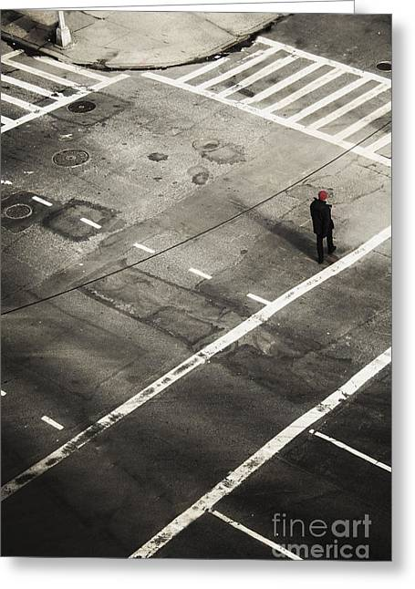 Walking On A City Street Alone Greeting Card