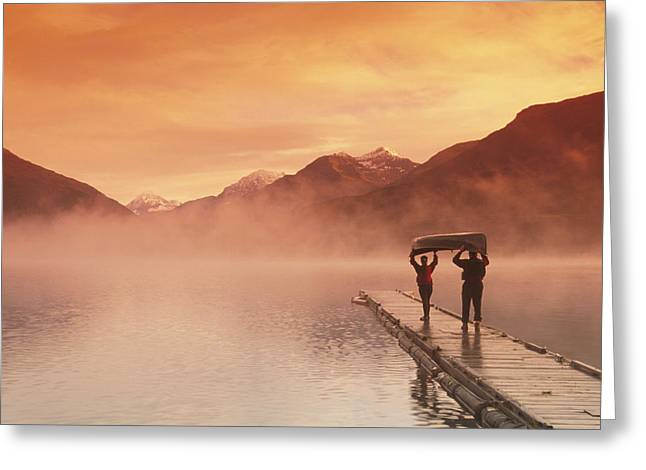 Walking On Dock Robe Lake  Sunrise Sc Greeting Card