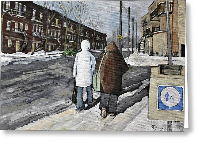 Walking On The Avenues Greeting Card by Reb Frost