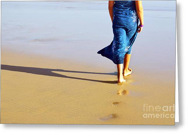 Walking On The Beach Greeting Card by Carlos Caetano