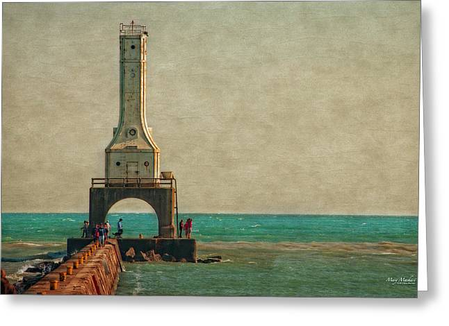Walking On The Breakwater Greeting Card by Mary Machare