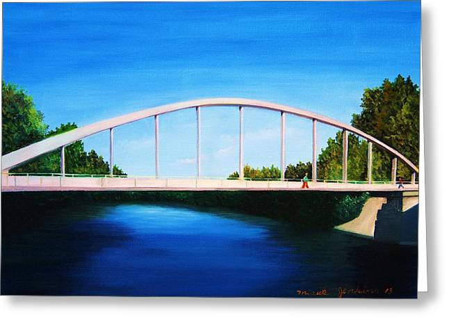 Walking On The Bridge  Greeting Card by Misuk Jenkins