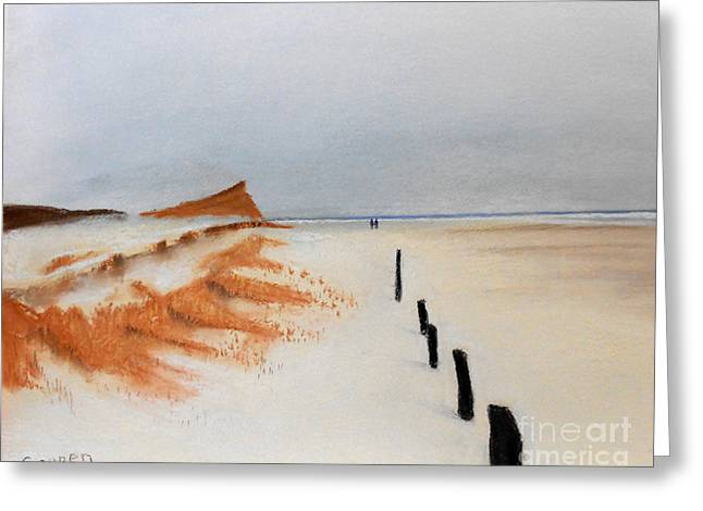 Greeting Card featuring the painting Walking On The Outermost Beach by Robert Coppen