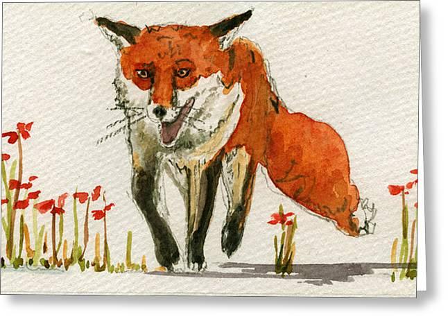 Walking Red Fox Greeting Card by Juan  Bosco