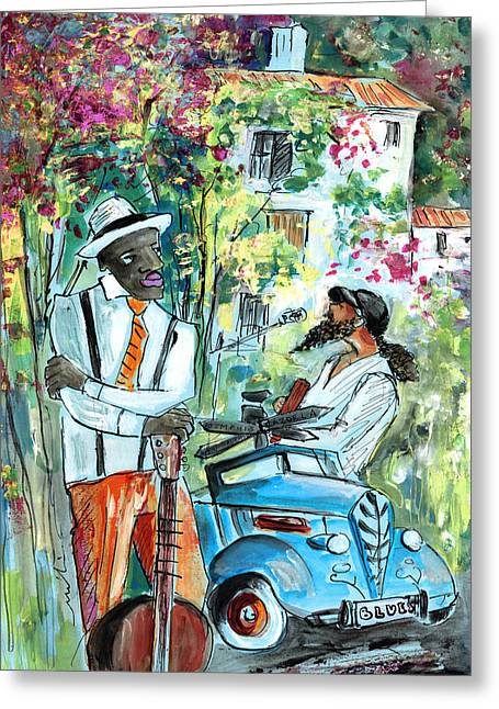 Walking Stick Man At The Blues Festival In Cazorla Greeting Card by Miki De Goodaboom
