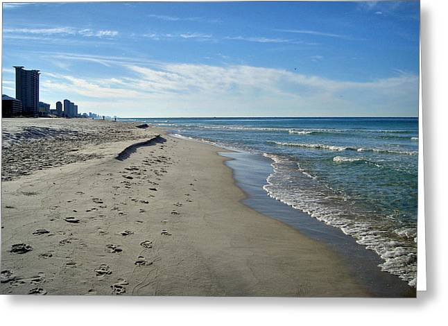 Walking The Beach Greeting Card by Sandy Keeton