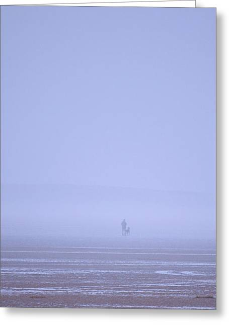 Walking The Dog In The Mist Greeting Card