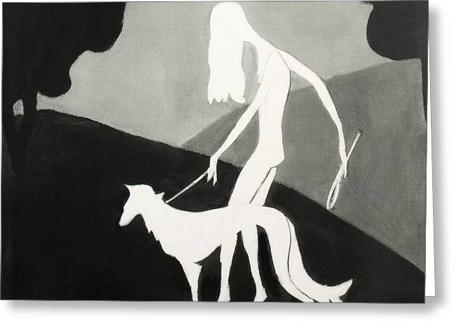 Walking The Dog Greeting Card by Judy Tolley