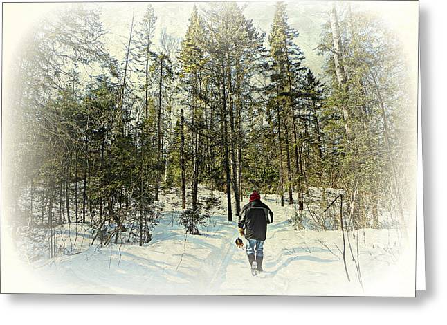 Walking The Dog On A Snowy Trail Greeting Card by Dianne  Lacourciere