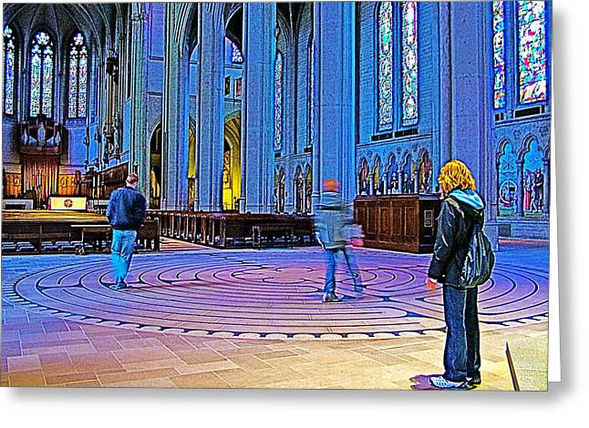 Greeting Card featuring the photograph Walking The Indoor Labyrinth In Grace Cathedral In San Francisco-california by Ruth Hager
