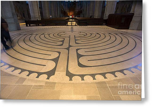 Walking The Labyrinth At Grace Cathedral Greeting Card by David Bearden