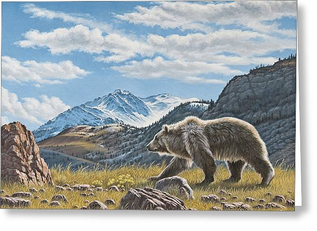 Walking The Ridge - Grizzly Greeting Card by Paul Krapf