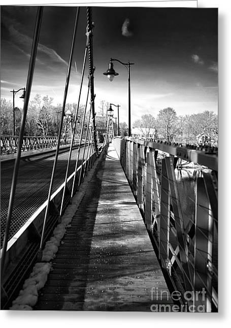 Walking The Riegelsville Bridge Greeting Card