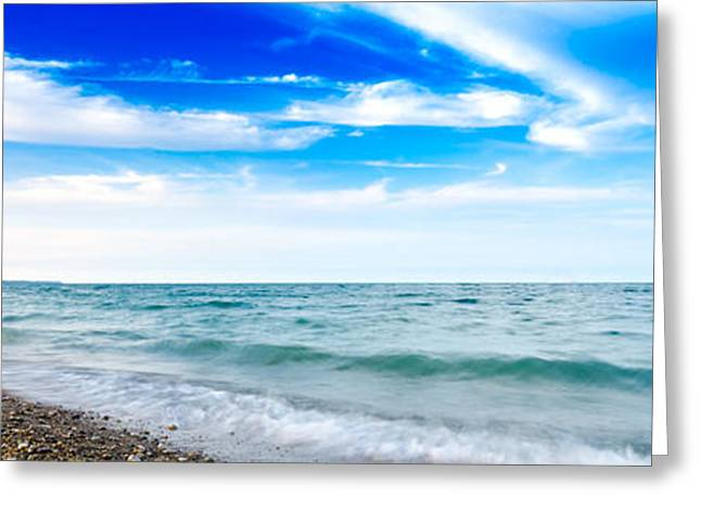 Greeting Card featuring the photograph Walking The Shore - Extended by Steven Santamour