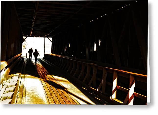 Walking Through History - Elizabethton Tennesse Covered Bridge Greeting Card by Denise Beverly