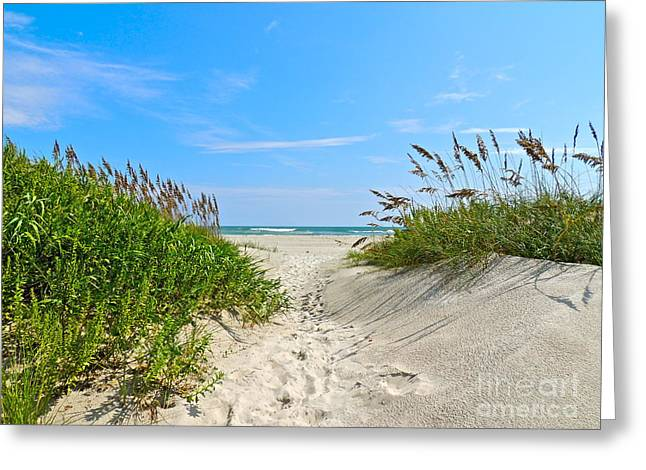 Walking Through The Sea Oats Greeting Card