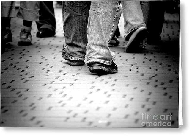 Walking Through The Street Greeting Card by Michal Bednarek