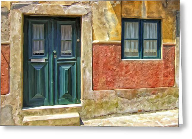 Greeting Card featuring the painting Walking Through Vila De Conde by Michael Pickett