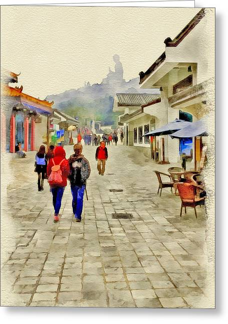 Walking To Big Buddha Greeting Card