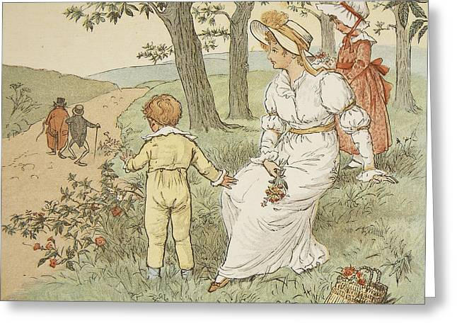 Walking To Mouseys Hall Greeting Card by Randolph Caldecott