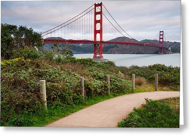 Walking To The Golden Gate Bridge - California Greeting Card by Gregory Ballos